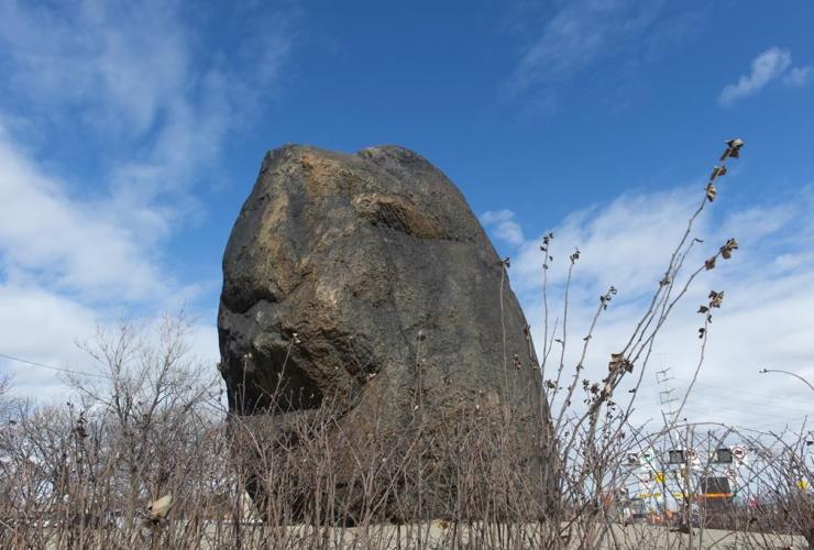Irish commemorative stone, black rock, Montreal,