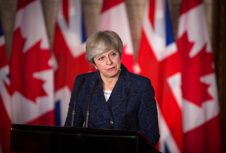 Prime Minister Theresa May in Ottawa for post-Brexit trade talks with PM Justin Trudeau