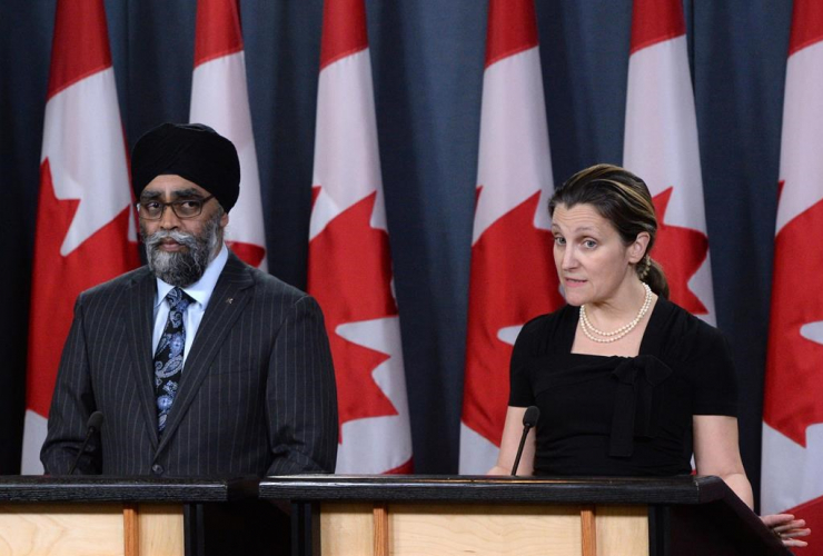 Defence Minister Harjit Sajjan, Foreign Affairs Minister Chrystia Freeland