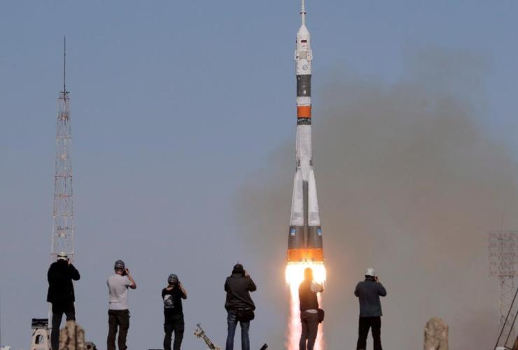 Soyuz-FG rocket booster, Soyuz MS-10 space ship,