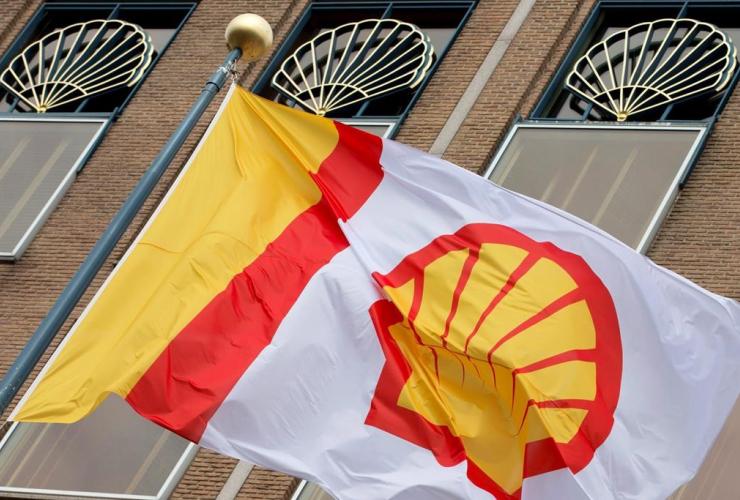 flag, company logo, Royal Dutch Shell, Hague, Netherlands,