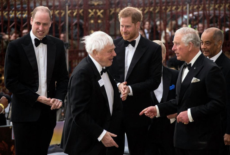Prince William, Sir David Attenborough, Prince Harry, Prince Charles, Natural History Museum, central London, Our Planet,