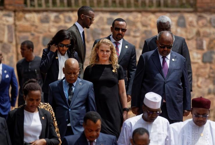 Governor General of Canada Julie Payette, wreath, Kigali Genocide Memorial, Rwanda,