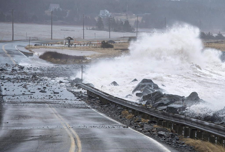 Waves, closed section, Highway 207, Lawrencetown,
