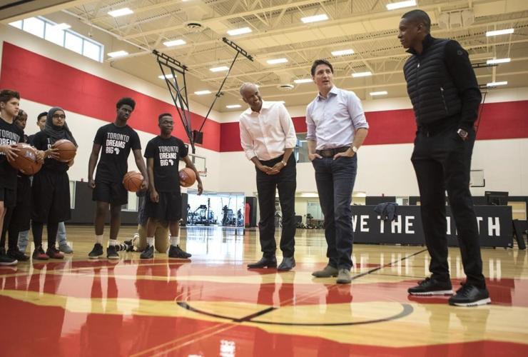 Justin Trudeau, Ahmed Hussen, Masai Ujiri,