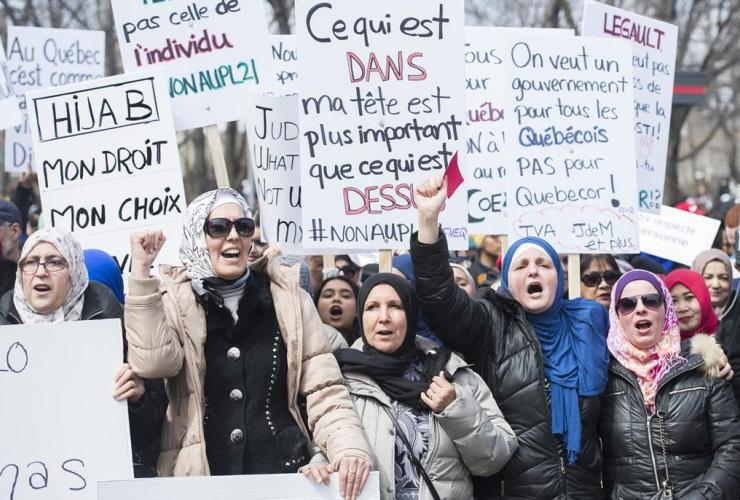 People, demonstration, Montreal, Bill 21,