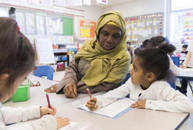 Kindergarten teacher, Haniyfa Scott, Montreal,