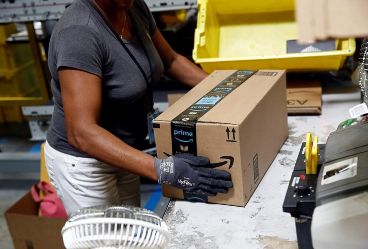 Amazon employee, package, shipment, Amazon fulfillment center, Baltimore,