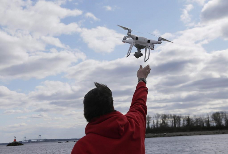 drone operator, drone, Hart Island,