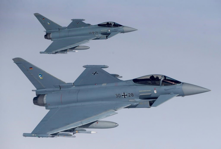 German Eurofighter Typhoon fighter, NATO, Baltic Air Policing Mission, Lithuanian airspace, air force exercise,