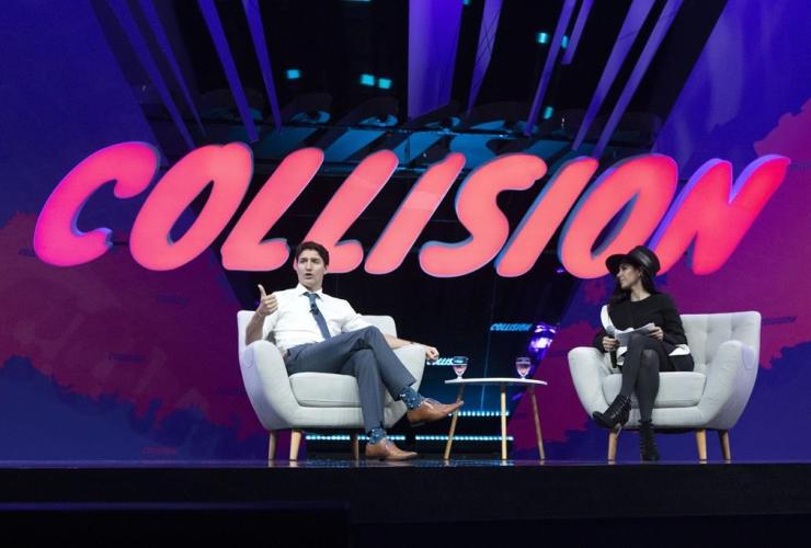 Prime Minister Justin Trudeau, armchair discussion, BroadbandTV Corp, Shahrfad Rafaiti, Collision tech conference,