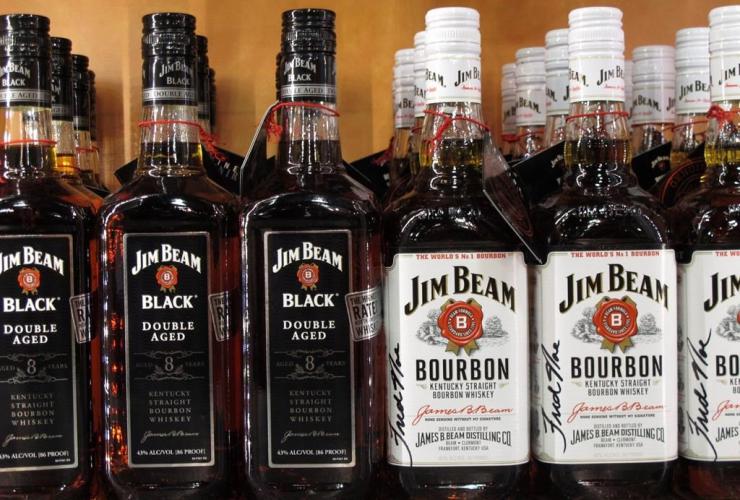 Jim Beam bourbon bottles, Jim Beam visitors' center, Clermont,