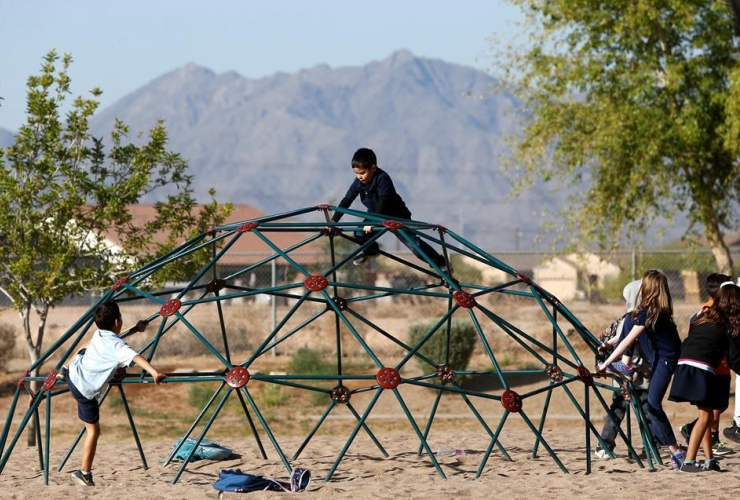 Students, play,  school playground, Phoenix, Ariz.,