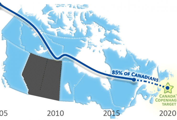 Map of Canada showing the provinces that are collectively on track to hit 2020 climate target