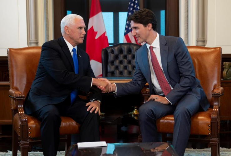 Canadian Prime Minister Justin Trudeau, U.S. Vice-President Mike Pence,