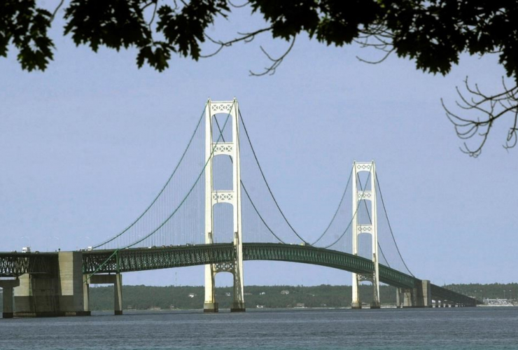Mackinac Bridge, Straits of Mackinac, from Mackinaw City, Mich.