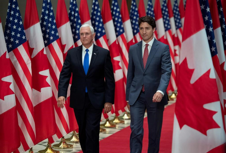 Prime Minister Justin Trudeau, U.S. Vice-President Mike Pence,