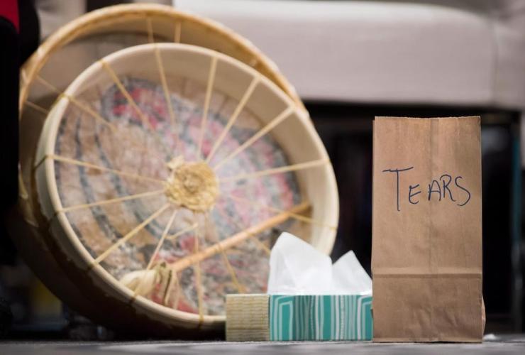 paper bag, tears, burned, sacred fire, National Inquiry, MMIWG,