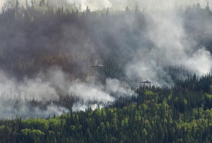 helicopter, drops, bucket, water, Chuckegg Creek wildfire, High Level,