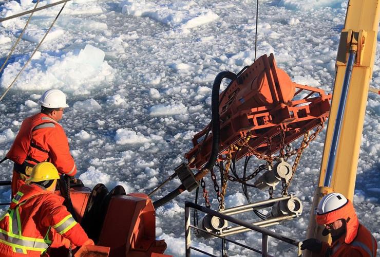 Seismic gear, deployed, CCGS Louis S. St-Laurent, Arctic Ocean,