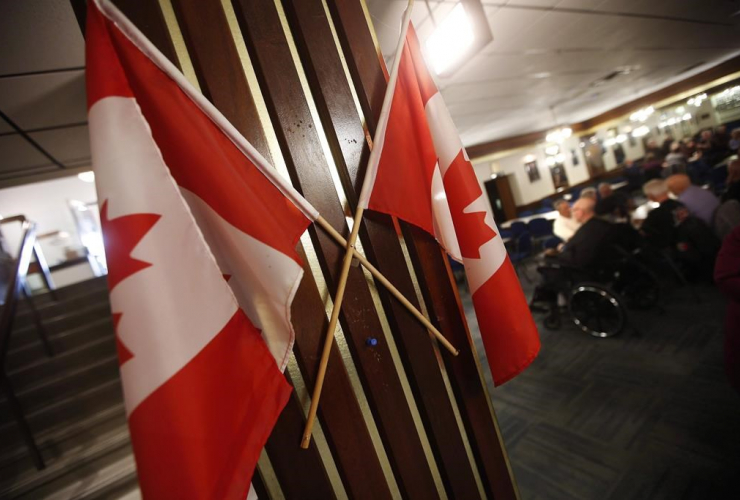 Canadian flags, The Royal Canadian Legion, St. James Branch No. 4, Winnipeg,