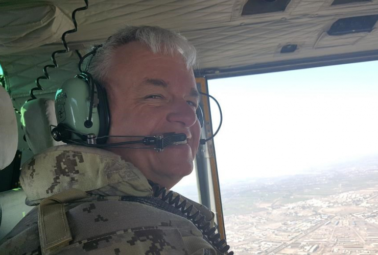 Brigadier General Colin Keiver, shown in a this 2018 handout image provided by the Canadian Armed Forces helicopter, flying over Iraq. Handout by The Canadian Armed Forces