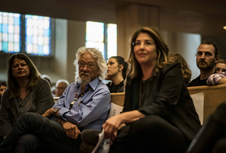 David Suzuki and Naomi Klein were among those discussing a Green New Deal for Canada at the Bloor Street United Church in Toronto on June 11, 2019.