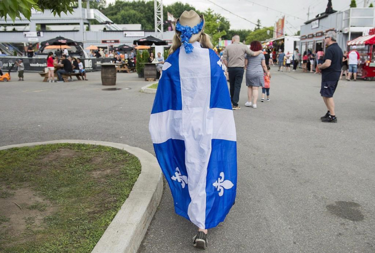 woman, draped, Quebec flag, Saint-Jean Baptiste day,
