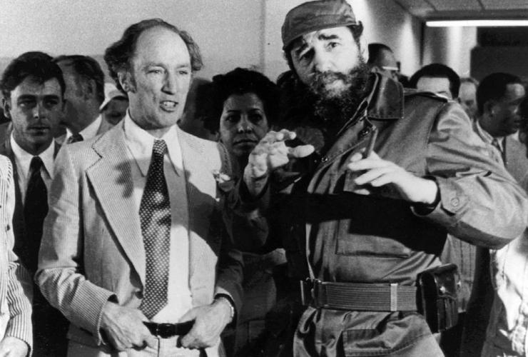 Prime Minister Pierre Trudeau, Cuban President Fidel Castro,