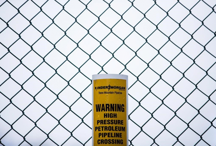sign, warning, underground petroleum pipeline, Kinder Morgan, Trans Mountain Pipeline, Burnaby,