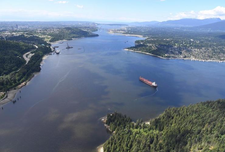 aerial view, tanker, Burrard Inlet, Burnaby,
