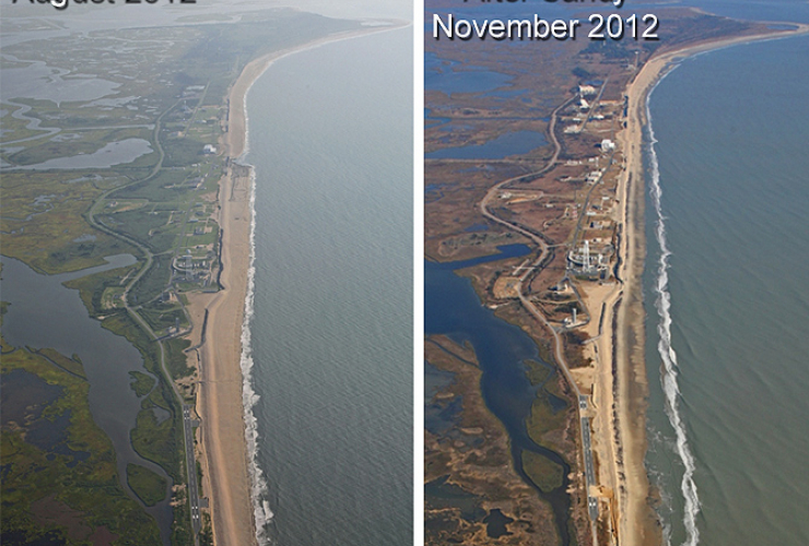 Aerial photographs of the NASA Wallops facility and coastline. On the left is from August 2012 after completion of a Shoreline Protection Project. On the right is from November 2012 after Hurricane Sandy swept by. Credit: NASA