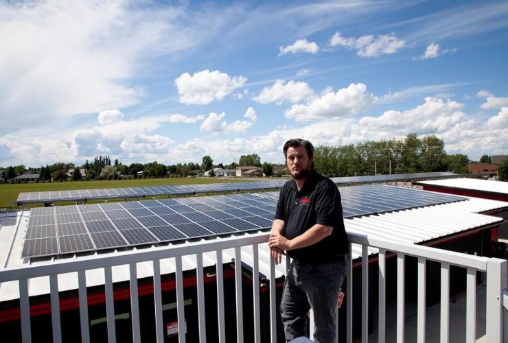 Greg Robinson, solar panels,municipal building, Raymond, Alta.,