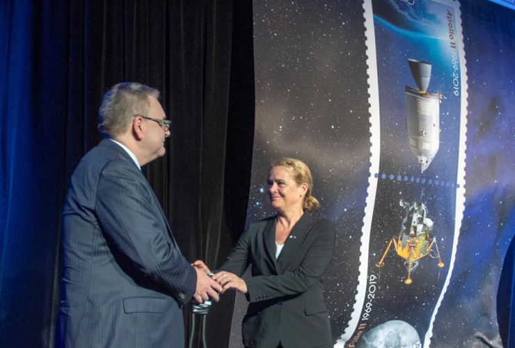 Governor-General Julie Payette, Canada Post chief executive Doug Ettinger, stamp, Apollo 11 moon landing,