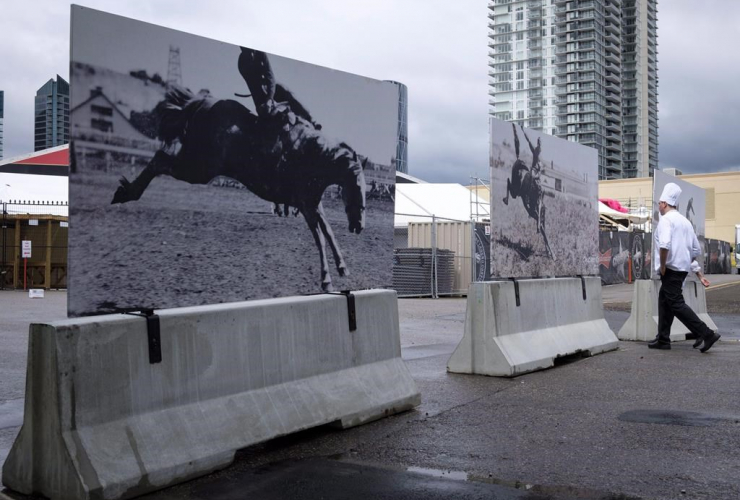 Concrete barriers, Calgary Stampede, Calgary,