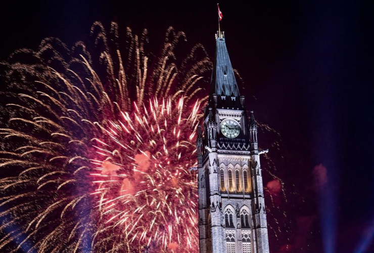 Fireworks, Peace Tower, Parliament Hill, Canada Day celebrations,