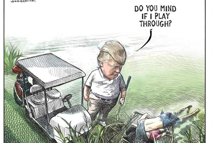 editorial cartoonist, Michael de Adder, anti-Trump sketch, Atlantic media organization,