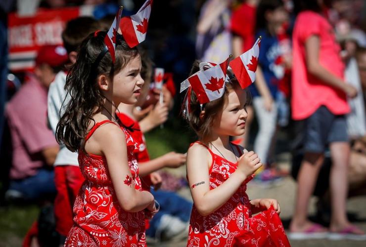 Children, parade, Canada Day, Cremona,