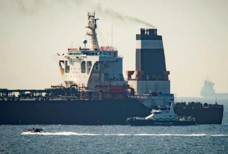 Grace 1 super tanker, Royal Marine patrol vessel, Gibraltar,