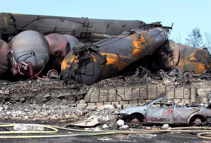 Wrecked oil tankers, runaway train, Lac-Megantic,