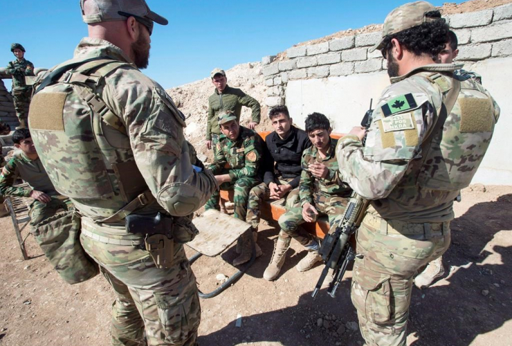 Canadian special forces soldiers, Kurdish Peshmerga fighters,