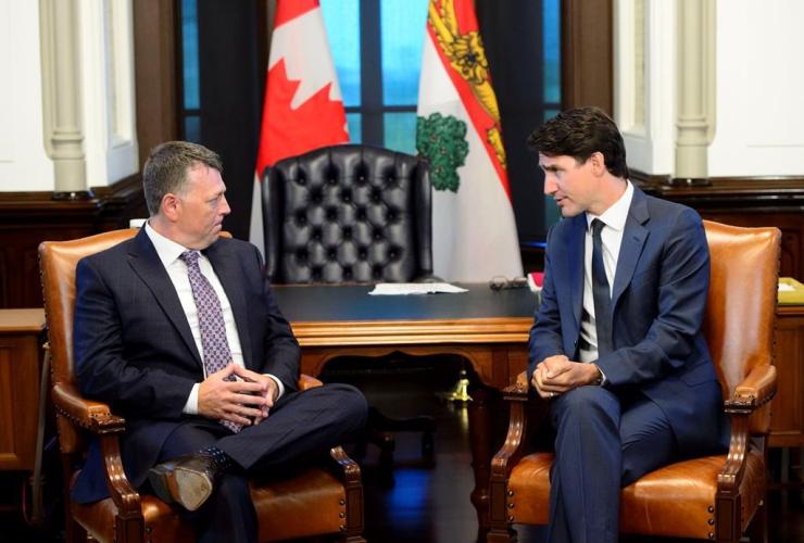 Prime Minister Justin Trudeau, Premier of Prince Edward Island Dennis King,