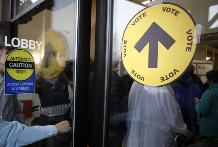 Voters, cast their ballots, SHOAL Centre, election day, Sidney,