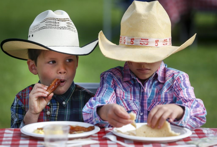 Young cowpokes, Stampede breakfast, Calgary,