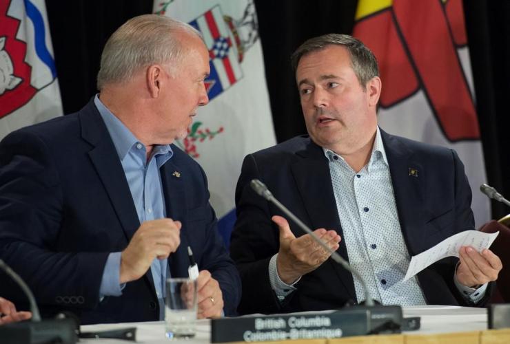 British Columbia Premier John Horgan, Alberta Premier Jason Kenney,