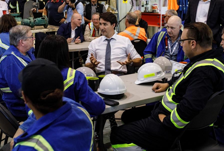 Prime Minister Justin Trudeau, workers, Trans Mountain Terminal, Edmonton,
