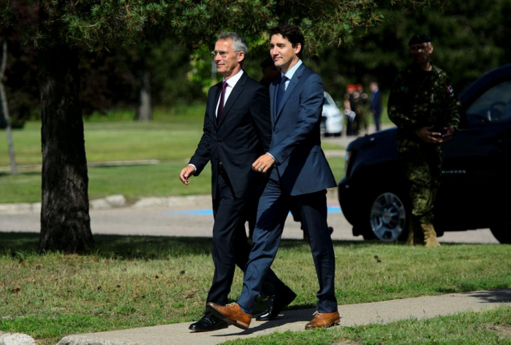 Prime Minister Justin Trudeau, Secretary General of the North Atlantic Treaty Organization, NATO, Jens Stoltenberg, Canadian Forces Base Petawawa,