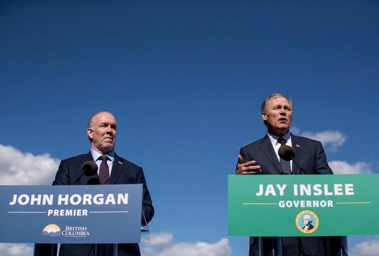 British Columbia Premier John Horgan, Washington State Gov. Jay Inslee,