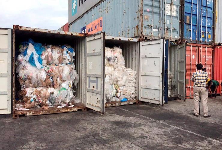Containers, plastic waste, Sihanoukville Port, Phnom Penh, Cambodia,