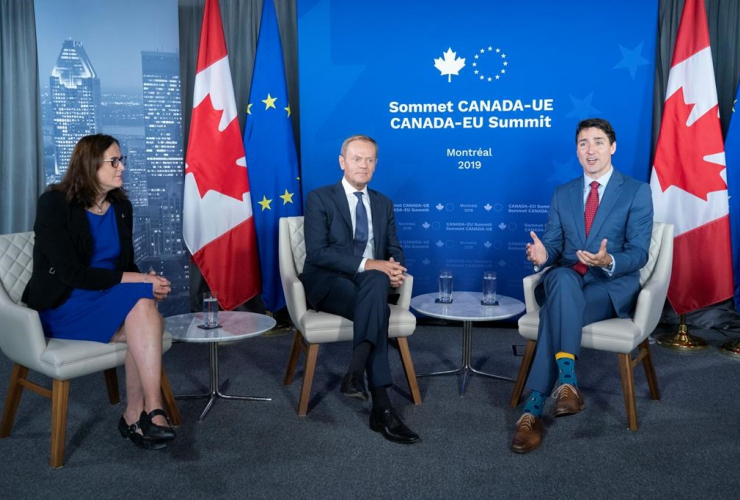 European Commissioner for Trade, Cecilia Malmstrom, President of the European Council, Donald Tusk, Prime Minister Justin Trudeau,